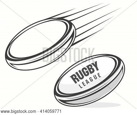 Rugby Ball Icon With Shadow, American Football Vector