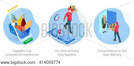 Online Purchases During A Quarantine. Contactless Or To The Door Delivery. Isometric Delivery Man Or