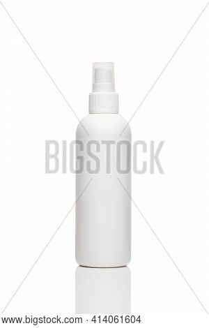 White Antiseptic Bottle Spray. Cosmetic Plastic Bottle With Transparent Cap. Blank Mockup Bottle Iso