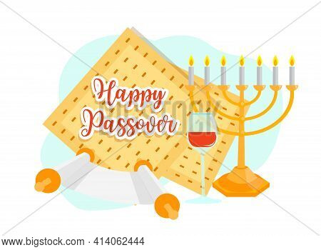 Jewish Holiday Passover Banner Design With Floral Decoration. Pesach Celebration Concept. Vector Ill