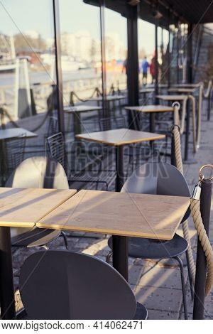 The Deserted Terrace Of The Closed Cafe During The Lockdown.
