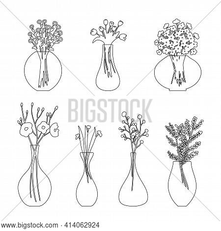 Set Of Linear Flowers In A Vase. Vector Illustration. Isolated Elements On A White Background. Linea