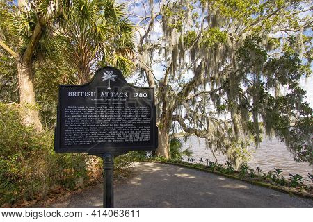 Charleston, South Carolina, Usa - February 22, 2021: Historical Marker Commemorating The British Att