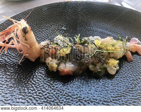 Modern Cuisinine, Langoustine Tartar With Roe And Herbs