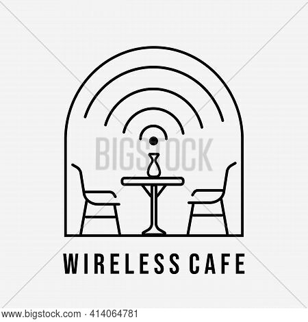 Wireless Cafe Line Art Logo Vector Illustration Design. Terrace Cafe Symbol
