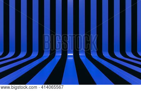 Realistic abstract geometric background with black and blue convergence stripes with shadows and glares. 3d rendering