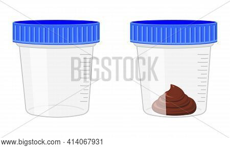 Stool Sample, Empty And Full Plastic Cups. Poop Analysis. Laboratory Examination Concept. Vector Car