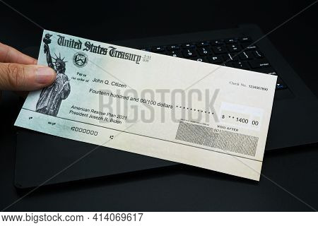 Lake Elsinore, California, Usa - March 24, 2021 American Rescue Plan Payment Check