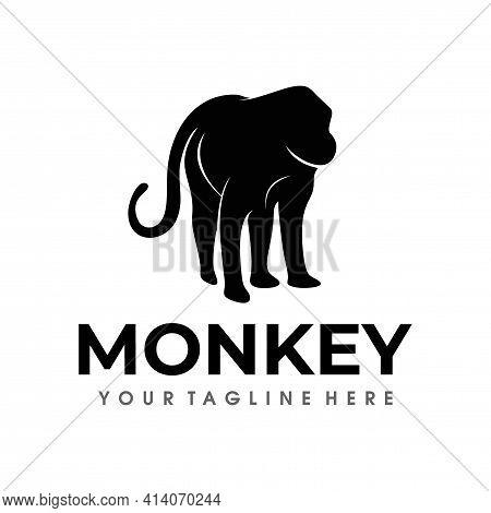 Monkey Logo. Monkey Logo Design Silhouette Vector Illustration