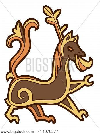 Color Vector Outline Drawing Of Scandinavian Viking Stylized Beast