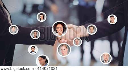 Composition of businesswomen shaking hands with network of people's photographs. global finance, business and connection concept digitally generated image.