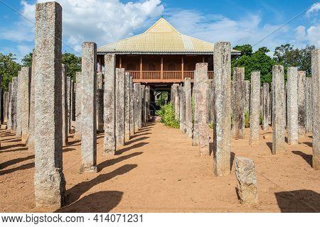 The 1,600 Stone Pillars Palace Of Lovamahapaya In Ancient City Of Anuradhapura, Sri Lanka. Lovamahap
