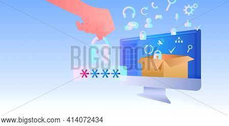 Hand Entering Password Computer App Protection Shield With Padlock Data Privacy Security Protection