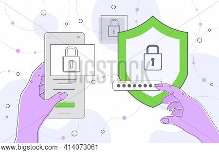 Hands Entering Passcode On Smartphone With Protection Shield Mobile Account Locked Privacy Security