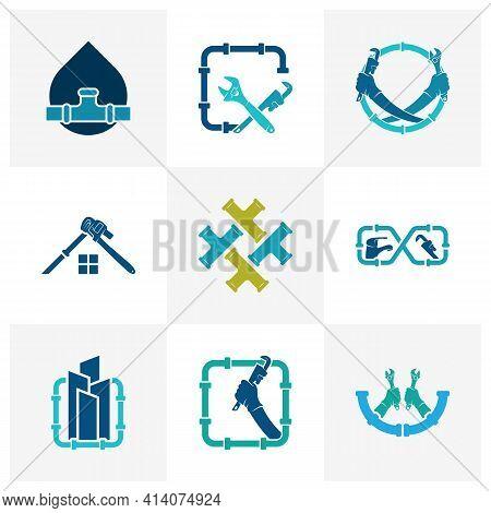 Set Of Plumbing Logo Design Vector Illustration, Creative Plumbing Logo Design Concept Template, Sym