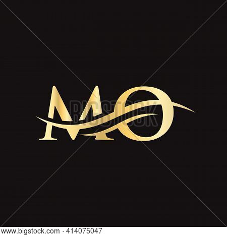 Initial Mo Letter Linked Logo Vector Template. Swoosh Letter Mo Logo Design. Mo Logo Design Vector