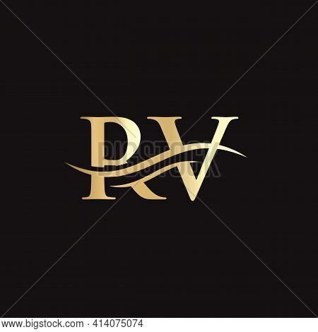 Modern Rv Logo Design For Business And Company Identity. Creative Rv Letter With Luxury Concept.