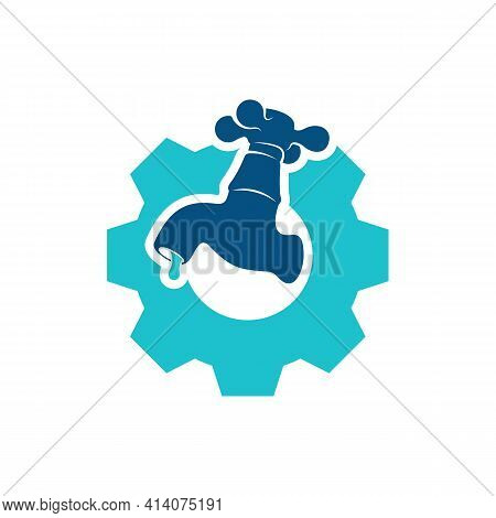 Gear Plumbing Logo Design Vector Illustration, Creative Plumbing Logo Design Concept Template, Symbo