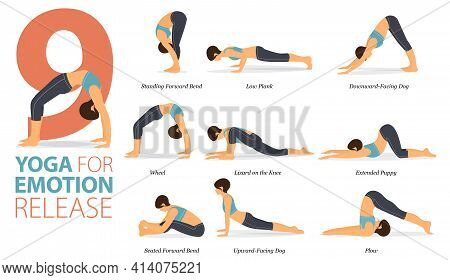 Infographic 9 Yoga Poses For Workout In Concept Of Emotion Release In Flat Design. Women Exercising