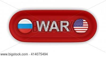 War between Russia and USA on white background. Isolated 3D illustration