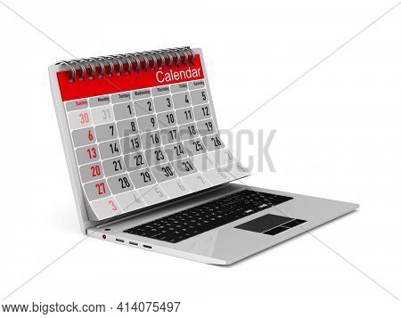 laptop and calendar on white background. Isolated 3D illustration