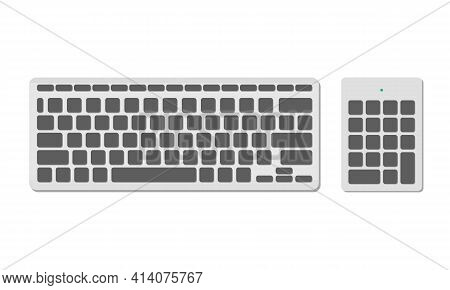 A Set Of Computer Keyboards, Basic And Numeric Without Symbols, Gray Color. A Modern Image Of A Comp