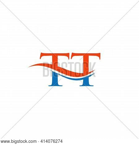 Swoosh Letter Tt Logo Design For Business And Company Identity. Water Wave Tt Logo With Modern Trend