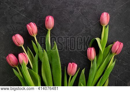 Pink Tulips Flowers On A Dark Concrete Background. Card For Mothers Day, 8 March, Happy Easter, Vale