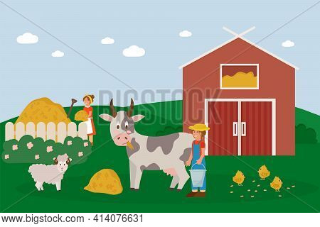 Farm Animals With Landscape. Vector Illustration With A Farm In A Cartoon Style. Working Farmers Ten