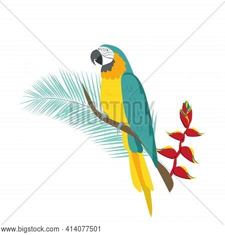 Tropical Parrot Yellow-blue Macaw Sits On A Branch With A Flower Of Heliconia. Tropical Plants And P