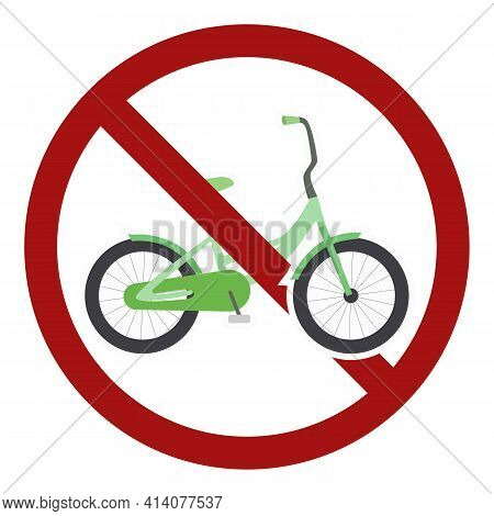 No Cycling. Flat Cartoon Bike In A Prohibition Sign. Two Wheeled Transport On The Road Is Prohibited