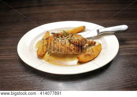 Authentic Italian Dish Known As Chicken Polloarrosta Alla Romana