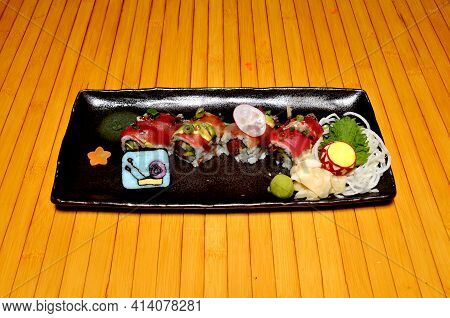 Traditional And Authentic Japanese Cusine Know As A Sushi Roll