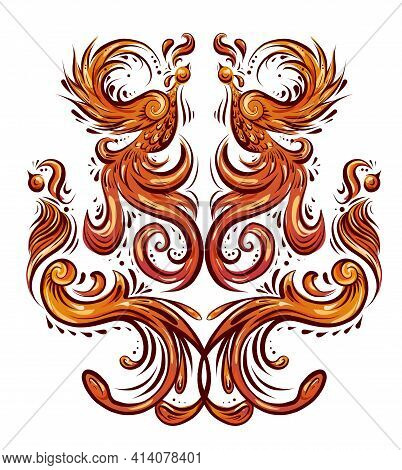 Colorful Bird Pattern With Curled Tails And Wings. Symmetrical Decoration In Orange Color. Vintage C