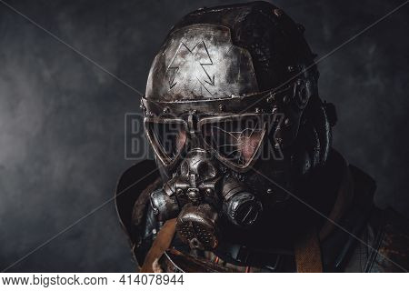 Armoured And Styled Stalkers Headshot In Dark Background