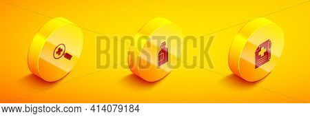 Set Isometric Magnifying Glass For Search Medical, Bottle Of Medicine Syrup And Medical Prescription
