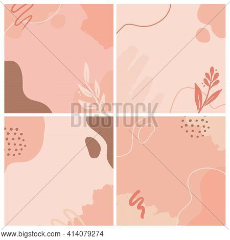 Set Of Social Media, Instagram Post, Story Template With Abstract, Floral, Plant Shape. Sketch Style