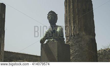 Naples, Italy- June, 13, 2019: Bronze Diana Statue At Pompeii