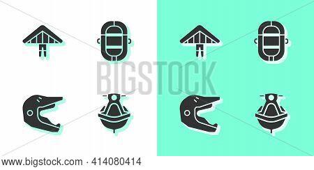 Set Jet Ski, Hang Glider, Motocross Motorcycle Helmet And Rafting Boat Icon. Vector