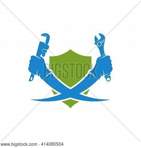 Shield Plumbing Logo Design Vector Illustration, Creative Plumbing Logo Design Concept Template, Sym