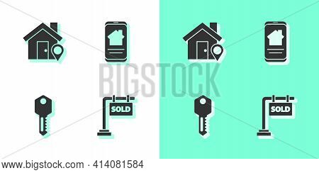 Set Hanging Sign With Sold, Location House, House Key And Online Real Estate Icon. Vector