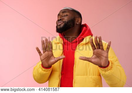 Relax I Deal It. Unbothered Chill Good-looking Confident Bossy African Bearded Guy Smiling Asking En