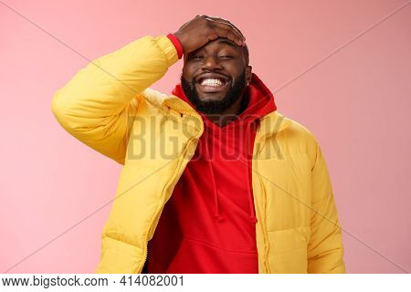 Charming Cute Black Bearded 25s Guy Forget Something Stupid Silly Smiling Friendly Punch Forehead Gr