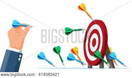 Many Darts Missed Target Mark. Multiple Failed Inaccurate Attempts Arrows To Hit Target. Business Ch