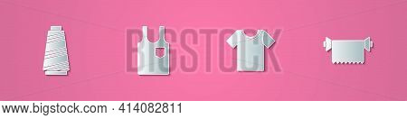 Set Paper Cut Sewing Thread, Sleeveless T-shirt, And Textile Fabric Roll Icon. Paper Art Style. Vect