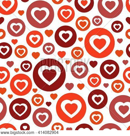 Color Red Circle With Hearts. Chaotic Pattern Hearts.