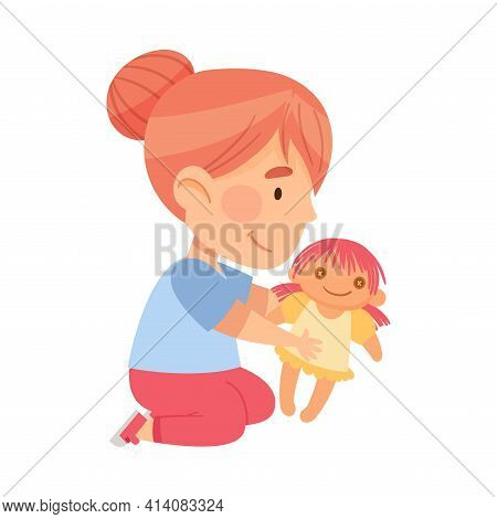 Little Girl Sitting On The Floor And Playing With Toy Doll In Kindergarden Vector Illustration