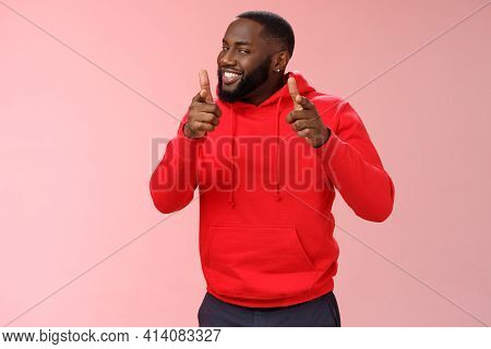Nice Work Well Done Friend. Proud Cheering Good-looking Cheeky Young Flirty Black Guy Beard In Red H