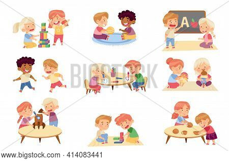 Kids Playing Toys And Game In Kindergarden Running, Playing Doll And Drawing Vector Set