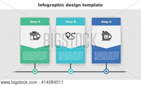 Set Location With Store, Route Location And House. Business Infographic Template. Vector